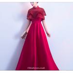 2019 New Fashion Floor-Length Lotus Leaf Hem Hidden Zipper Red Bridesmaid Dress New Arrival