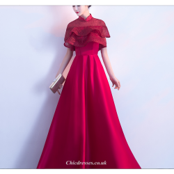 2019 New Fashion Floor-Length Lotus Leaf Hem Hidden Zipper Red Bridesmaid Dress