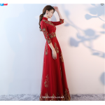 2019 New Fashion Floor-Length Red Long-Sleeves Bridesmaid Dress New Arrival