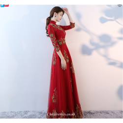 2019 New Fashion Floor-Length Red Long-Sleeves Bridesmaid Dress