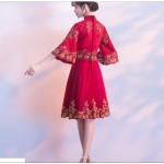 Fashion Knee-length Red Half-Sleeves Zipper Back A-line Bridesmaid Dress New Arrival
