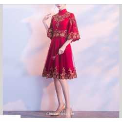 Fashion Knee-length Red Half-Sleeves Zipper Back A-line Bridesmaid Dress