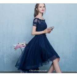 Asymmetrical Off The Shoulder Short Lace Appliques Evening Dress