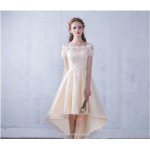 Front Short Rear Length Light Champagne Short Evening Dress Off The Shoulder Lace-up Party Dress New Arrival
