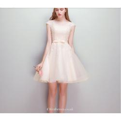 A Line Short Mini Bridesmaid Dress Lace Collar Zipper Back Evening Dress