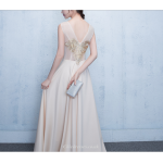 A-line Floor Length Champagne Evening Dress Illusion Exquisite Embroidery Bridesmaid Dress With Sequines New Arrival