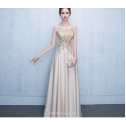 A-line Floor Length Champagne Evening Dress Illusion Exquisite Embroidery Bridesmaid Dress With Sequines