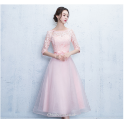 A-line Knee Length Pink Half Sleeves Lace Tulle Bridesmaid Dress