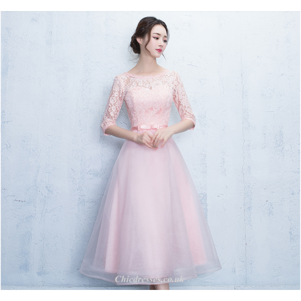 A-line Knee Length Pink Half Sleeves Lace Tulle Bridesmaid Dress New Arrival
