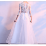 Evening Dress Skirt Female New Spring and Summer 3/4 Sleeve Banquet Elegant Floor Length Tulle Lace Bridesmaid Dress New Arrival
