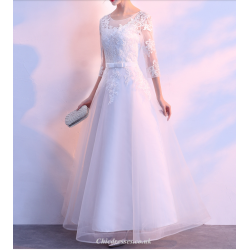 Evening Dress Skirt Female New Spring And Summer 3 4 Sleeve Banquet Elegant Floor Length Tulle Lace Bridesmaid Dress
