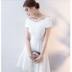 Short/Mini Cocktail Dress Off The Shoulder White Elegant Satin Party Dress New Arrival