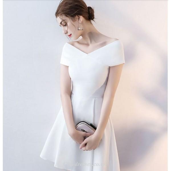 Short/Mini Cocktail Dress Off The Shoulder White Elegant Satin Party Dress New Arrival