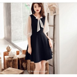Chic Dresses Cocktail Party Dress Black Tie A Bow At The Neckline Long Sleeves Short Mini Chiffon