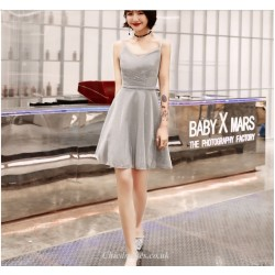 Cocktail Party Dress Spaghetti Straps Grey Short Mini Chiffon