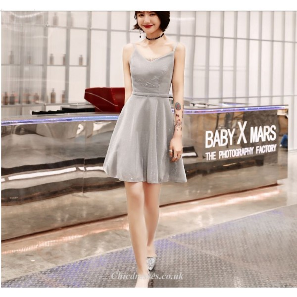 Cocktail/Party Dress Spaghetti Straps Grey Short/Mini Chiffon New Arrival