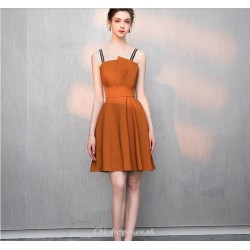 Short Mini Caramel Fashion Letters Sling Cocktail Party Dress