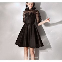 Chic Dresses Cocktail Dresses Black High Neck Half Sleeves Party Dress