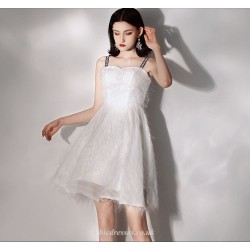 Short Mini Elegant White Cocktail Dress Fashion Letters Sling Party Dress