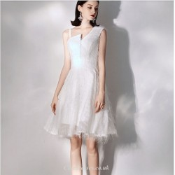 Short/Mini Elegant White Sling Chiffon Cocktail Party Dress