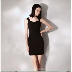 Short Mini Black Little Sheath Column Queen Anne Neck Cocktail Party Dress