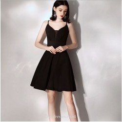 A-line Black Short/Mini Spaghetti Straps Criss Cross Back Cocktail Dress