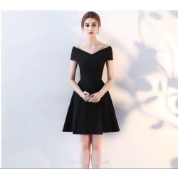 Short Mini Little Black Dress Off The Shoulder Zipper Back Satin Cocktail Dress