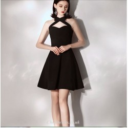 Short Mini Black Cocktail Party Dress With Bowknot