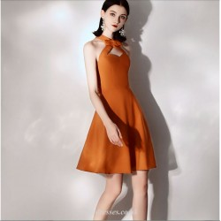 Short Mini Caramel Color Cocktail Party Dress With Bowknot