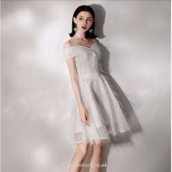 Short/Mini Elegant White Off The Shoulder Cocktail/Party Dress