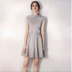 Short/Mini High-neck A-line Sequined Sparkle & Shine Grey Cocktail Dress