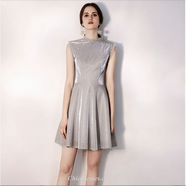 Short/Mini High-neck A-line Sequined Sparkle & Shine Grey Cocktail Dress New Arrival