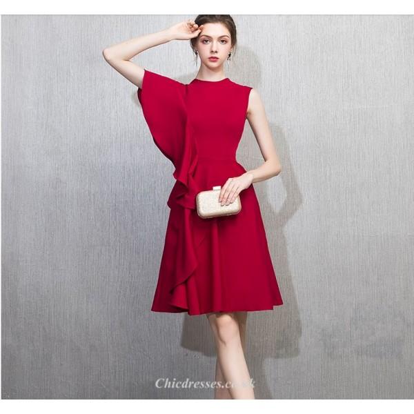 Short/Mini Fashion Lotus Edge Knee-Length Zipper-back Cocktail Party Dress New Arrival