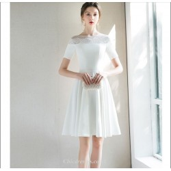 Elegant Short White Chiffon Cocktail Dress A-line Short Sleeves Party Dress