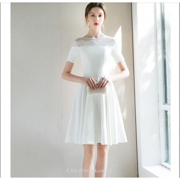 Elegant Short White Chiffon Cocktail Dress A-line Short Sleeves Party Dress New Arrival