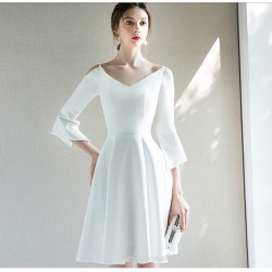Short Mini White Chiffon Party Dress V Neck A Line Long Sleeves Cocktail Dress
