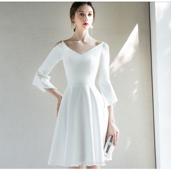 Short/Mini White Chiffon Party Dress V-neck A-line Long Sleeves Cocktail Dress New Arrival