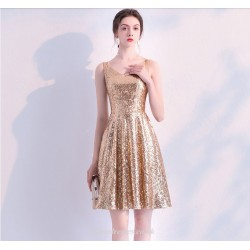 Short Mini Sequined Sparkle & Shine Cocktail Dress V Neck Zipper Back Party Dress
