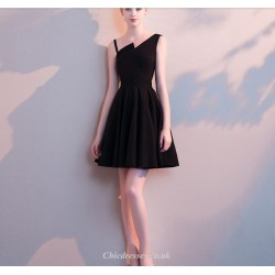Short/Mini Black Sling Chiffon Cocktail Party Dress