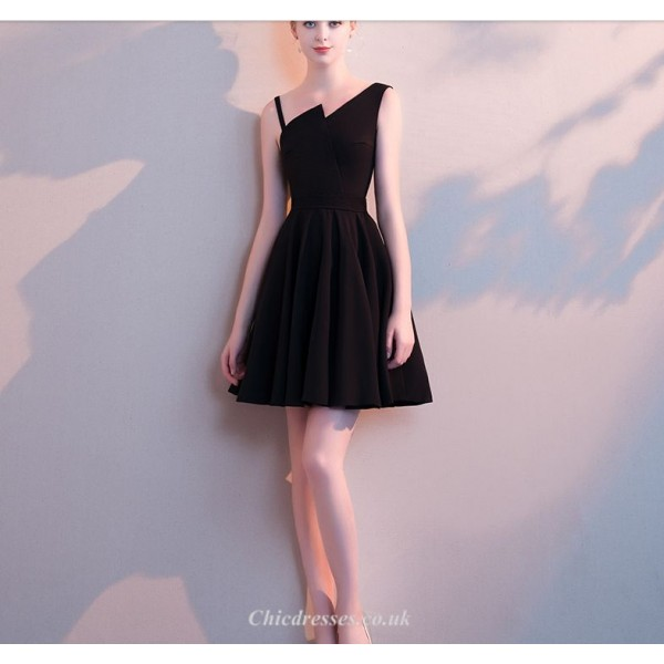 Short/Mini Black Sling Chiffon Cocktail Party Dress New Arrival