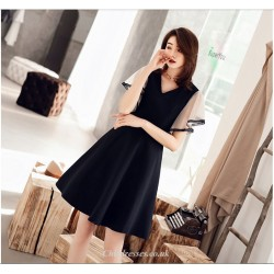 Chic Dresses Cocktail/Party Dress Black V-neck Short/Mini Chiffon