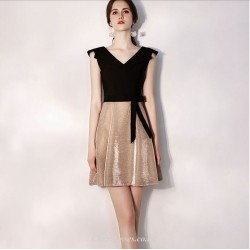 Short Mini V Neck Black And Champagne Colour With Sashes Cocktail Party Dress