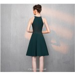 A-line Knee-length Jewel-neck Green Chiffon Cocktail/Party Dress New Arrival