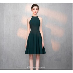 A Line Knee Length Jewel Neck Green Chiffon Cocktail Party Dress