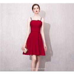 A-line Knee-length Fashion Neckline Letter Sling Red Cocktail/Party Dress