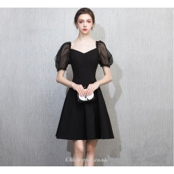 A Line Knee Length Black Chiffon Tulle Short Sleeves Cocktail Party Dress