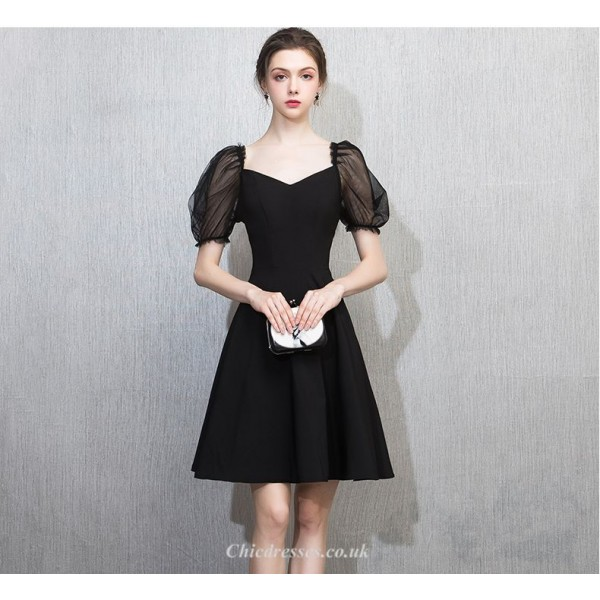 A-line Knee-length Black Chiffon Tulle Short Sleeves Cocktail/Party Dress New Arrival