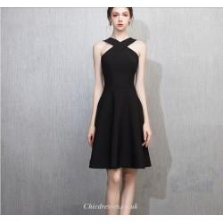 Chic Dress Cocktail Dress Criss Cross Strap-Neck Black Short Party Dress