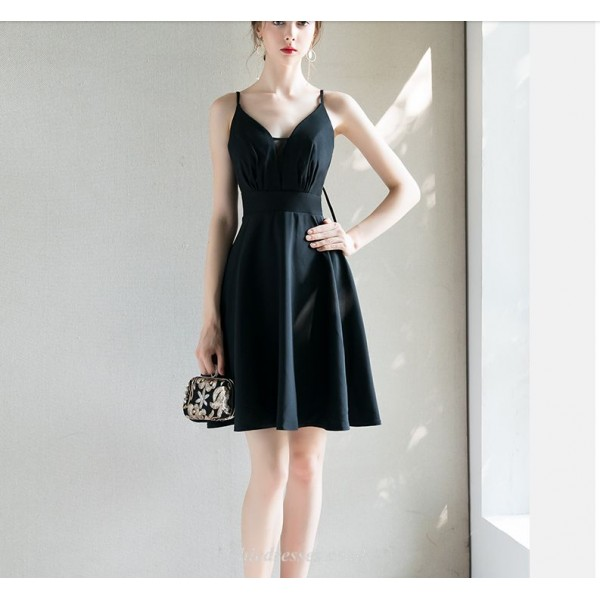 Chic Dress Cocktail Dress Queen Anne-neck Spaghetti Straps Petite A-line Short Chiffon New Arrival