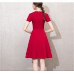 Chick Dress Cocktail Dress Short Sleeves Tie a Bow at The Neckline Red A-line Short Party Dress New Arrival